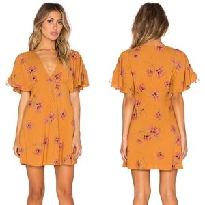 Free People Melanie Floral Mini Mustard Dress